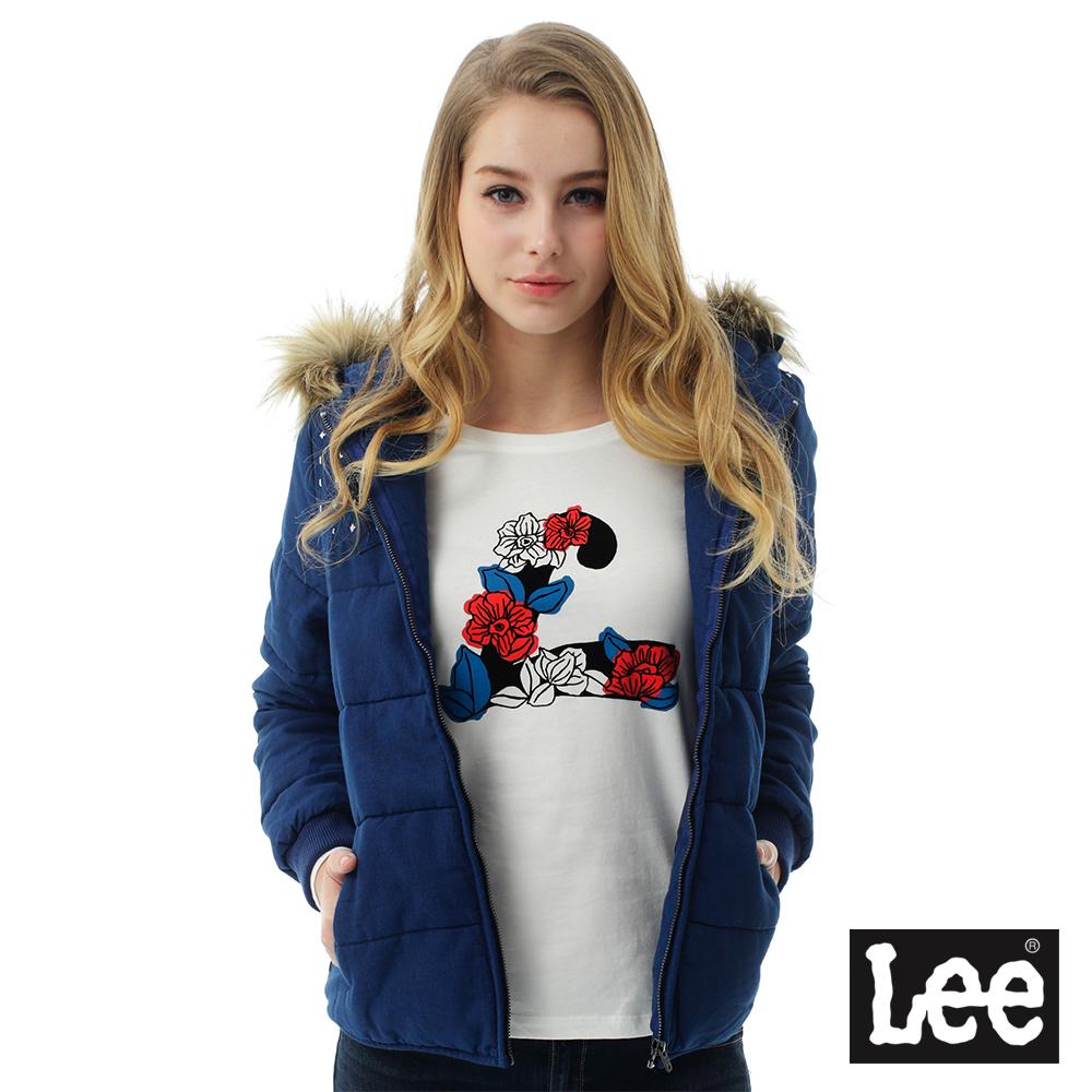 Lee 連帽可拆式毛邊舖棉外套-女-藍