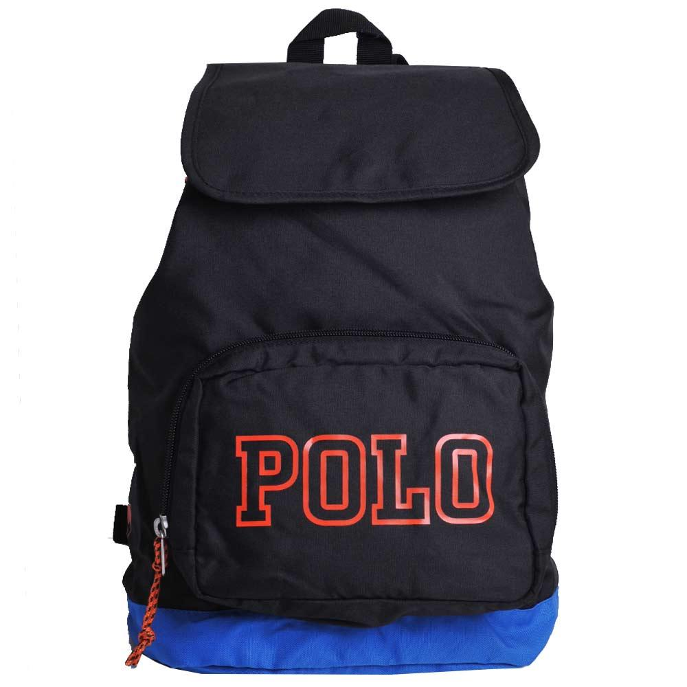 POLO Ralph Lauren 品牌LOGO圖騰尼龍可折後背包(黑/橘馬)