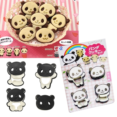 神綺町-日本-圓仔-熊貓-餅乾DIY造型模具組-4入-押花器-卡通巧克力烘焙工具創意西點