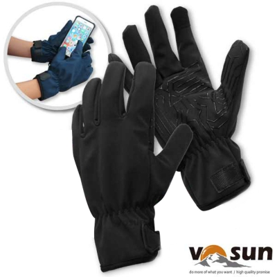 【VOSUN】暢銷款 WindStopper 防風透氣保暖觸控手套_智能黑
