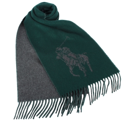 RALPH LAUREN POLO 經典大馬LOGO雙色羊毛圍巾-綠色