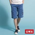 【EDWIN】純粹夏日-KHAKI貼袋馬褲-男款(藍色)