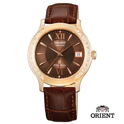 ORIENT 東方錶 ELEGANT系列 優雅鑲鑽機械錶-咖啡色/36mm