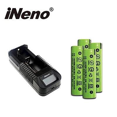 iNeno-3400mAh平頭 18650鋰電池4入組+VIPi1 單槽鋰電池充電器