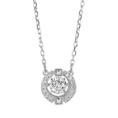 SWAROVSKI 施華洛世奇 圓形鏤空浮動璀璨亮鑽銀色項鍊