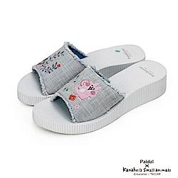 Paidal x 卡娜赫拉的小動物 - 花草藤條紋厚底拖鞋