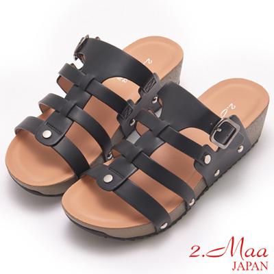 2.Maa-簡約清夏魚骨設計涼拖鞋-黑