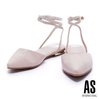 低跟鞋 AS 環繞晶鑽繫帶羊皮尖頭低跟鞋-粉