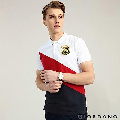 GIORDANO 男裝經典撞色刺繡彈力棉POLO衫-03 標誌白