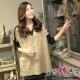 日系小媽咪孕婦裝。肩袖拼接造型針織毛料前短後長上衣