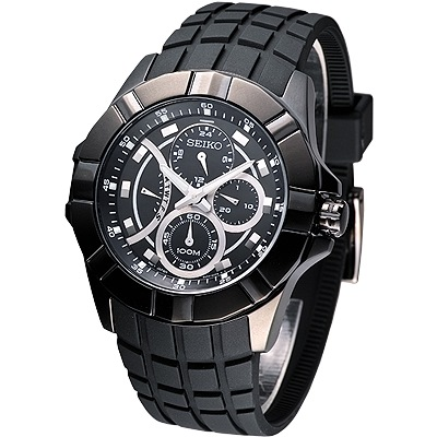 SEIKO-LORD-捍衛聯盟星期逆跳多環腕錶-SRL071P1-IP黑-43mm