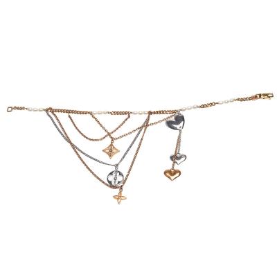 LOUIS VUITTON Q95018 Monogram花卉愛心吊飾珍珠串飾雙色18K金
