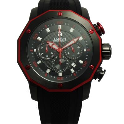 AuRox歐銳時 城市菁英三眼計時不袗石英錶(AR295-時尚紅)-48mm
