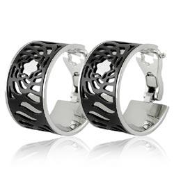 MONT BLANC 萬寶龍 黑色鏤空LOGO圖樣寬版耳環