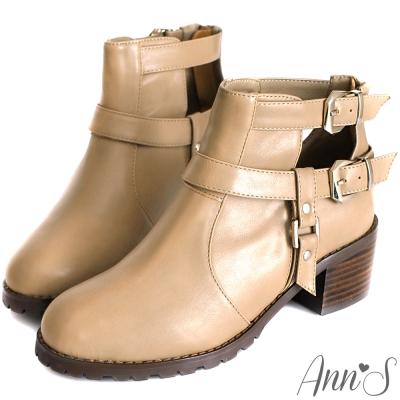 Ann'S視覺設計-T字銀釦帶韓國短靴 杏灰