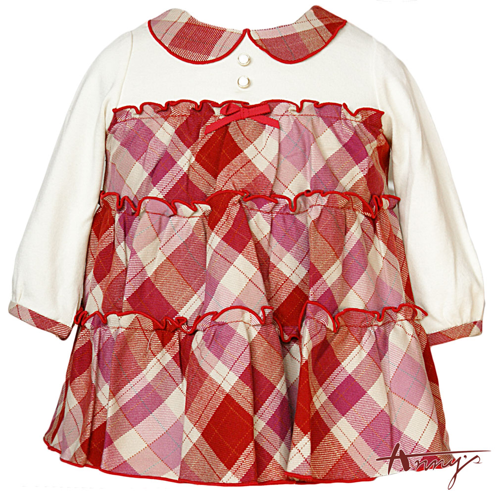 Anny淘氣單排釦拼接鄉村格紋蛋糕洋裝*4273粉紅