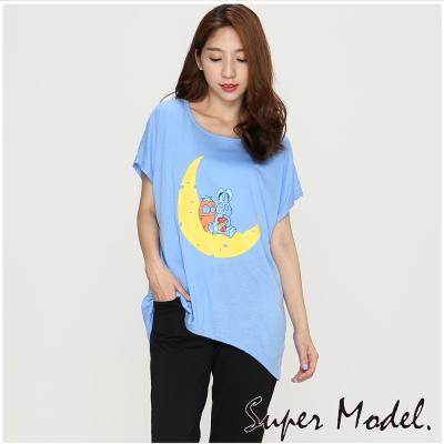 休閒卡通印花短袖上衣-藍色(M-XL適穿)   名模衣櫃