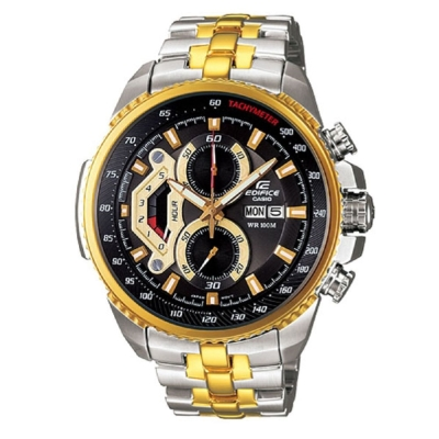EDIFICE 新美學大錶面競速賽車計時錶(EF-558SG-1A)-黑x金框/49.3mm