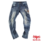 【BOBSON】 男款翻轉系列立體摺痕牛仔褲(藍58)