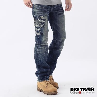 BIG TRAIN-惡童骷髏小直筒褲-中藍