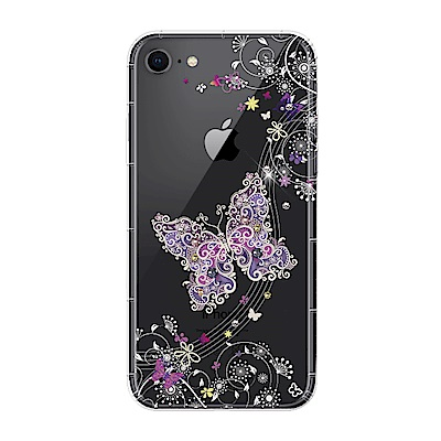 【SSTAR】iPhone 7/8 彩繪水鑽空壓防摔殼-紫蝶