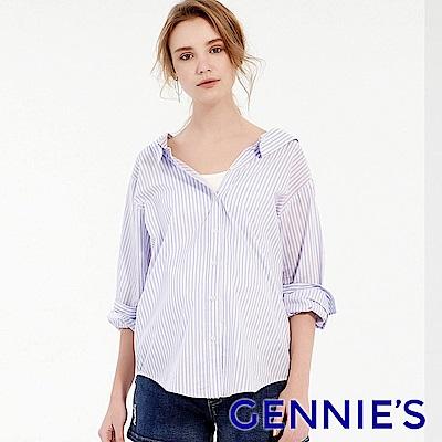 Gennies專櫃-兩穿式直條抓皺排釦襯衫-淺藍條紋(T3F08)