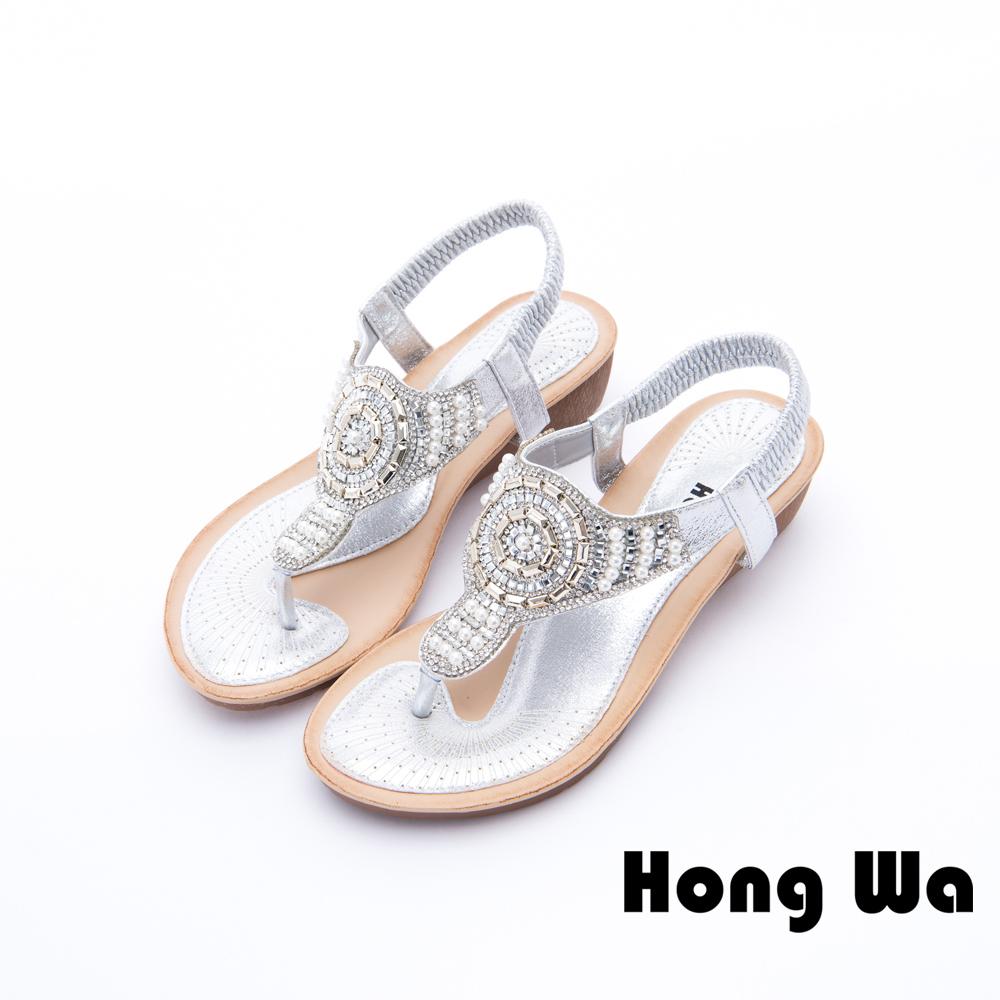 Hong Wa - 性感埃及寶石鑽飾時尚涼鞋 - 銀