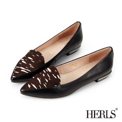 HERLS 全真皮異材質拼接尖頭樂福鞋-黑白馬毛