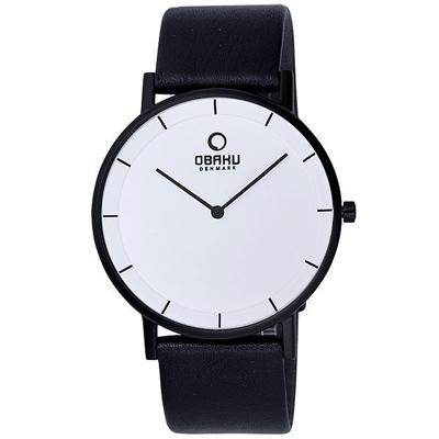 OBAKU 纖薄哲學二針時尚腕錶(黑帶黑框白/大)- 40 mm