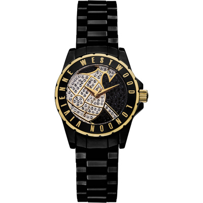 Vivienne Westwood 星球引力晶鑽黑陶瓷腕錶-黑色x金色/ 30 mm