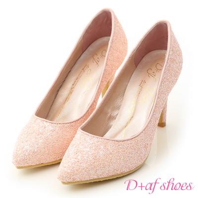 D+AF 絕美閃耀.滿滿亮片美型尖頭高跟鞋*粉