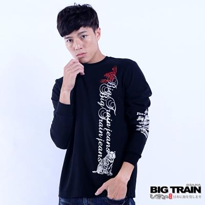 BIG TRAIN 虎侍文字羅紋束口長袖T-男-黑色