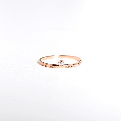 微醺禮物 戒指 正韓 純銀 鍍K金 鋯石 單顆圓鑽 圓點點裙子 女戒