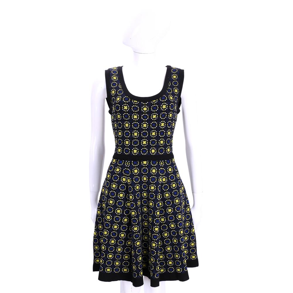 PHILOSOPHY 黑x藍x黃色幾何印花針織無袖洋裝
