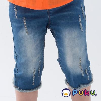 PUKU藍色企鵝 率性鬆緊刷破牛仔七分褲(男女款)