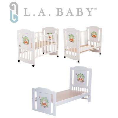 【美國 L.A. Baby】布魯克林三階段嬰兒木床/成長大床/童床-白色(0歲-10歲幼童