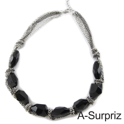 A-Surpriz 黑色魅力寶石鍊條項鍊