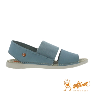 SOFTINOS(女) TAI STYLE 雙寬線牛皮鬆緊帶雙料休閒涼鞋 - 水藍