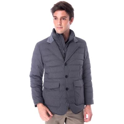 【hilltop山頂鳥】男款超撥水保暖蓄熱羽絨短大衣F22MT6黑