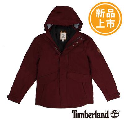Timberland-男款酒紅色三合一防水野戰夾克外套