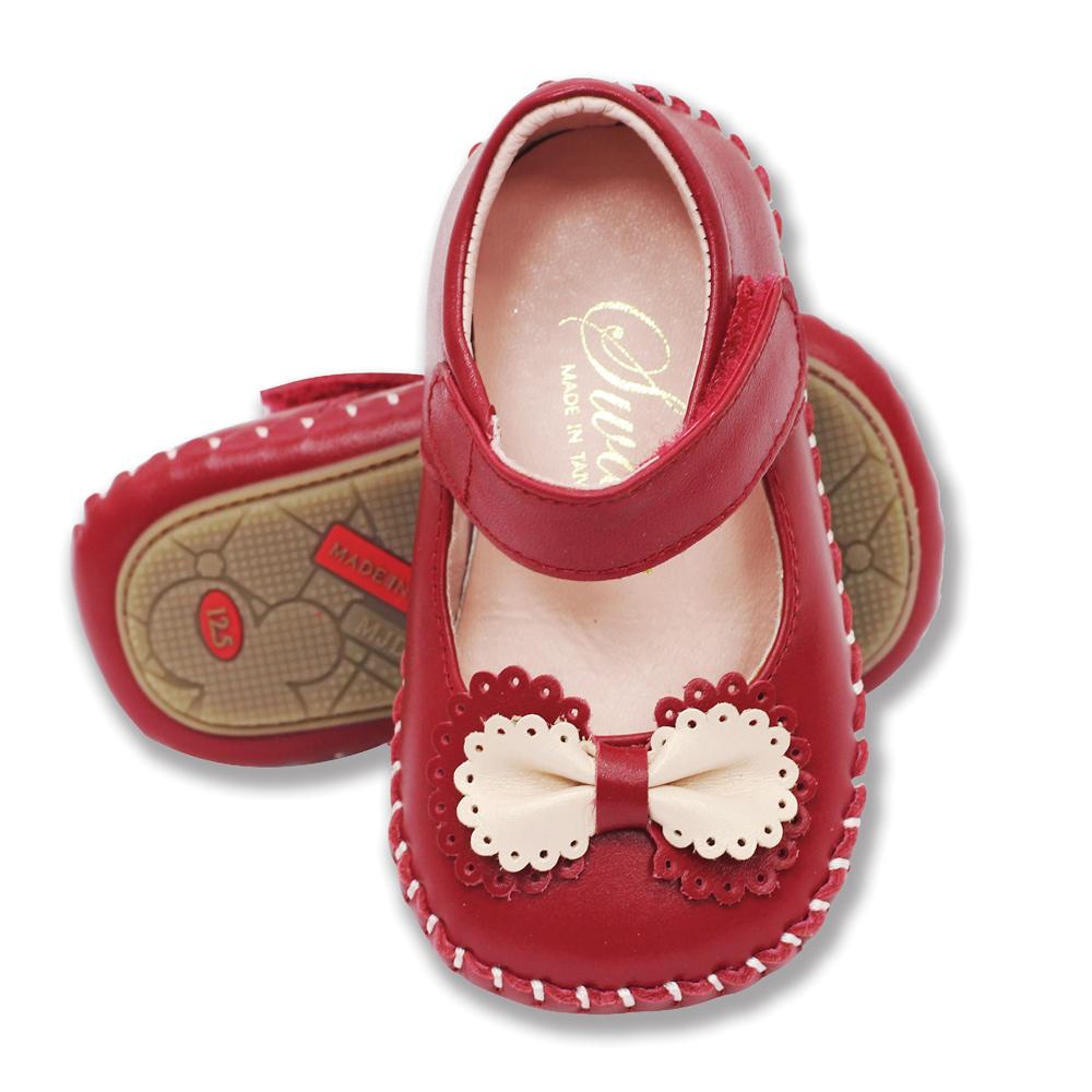 Swan天鵝童鞋-雙色蝴蝶結真皮學步鞋 1409-紅