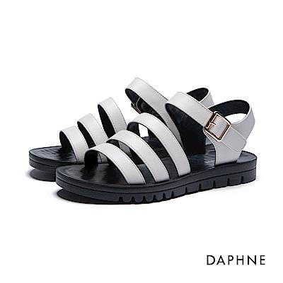 達芙妮DAPHNE 涼鞋-三層條帶按摩顆粒撞色平底涼鞋-米白