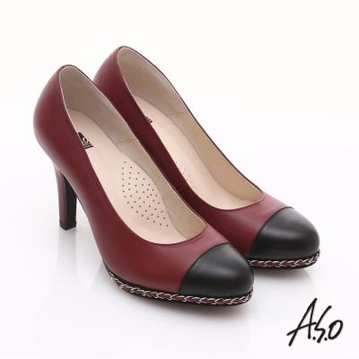 A.S.O 優雅時尚 珠光真皮雙色鍊帶高跟鞋 紅