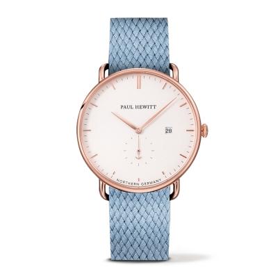 PAUL HEWITT Atlantic Line尼加拉藍尼龍錶帶白x玫瑰金手錶-42mm