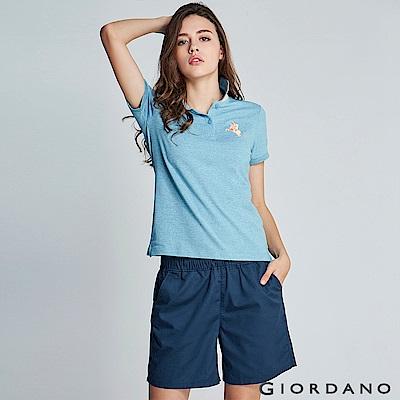 GIORDANO 女裝純棉綁帶休閒卡其短褲-63 標誌藍