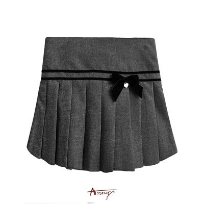 Annys經典氣質學院高質百褶蝴蝶結短裙*7284灰