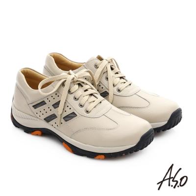 A.S.O 3D超動能 真皮抗震奈米綁帶休閒鞋 米色