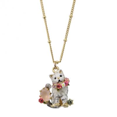 Les Nereides 動物花園系列 寶石水鑽花圈灰色小貓金色短項鍊