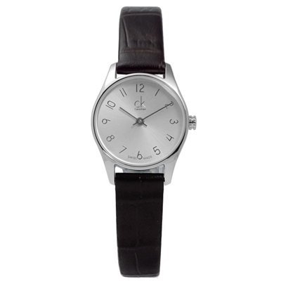 CK 時尚低調內斂皮革女錶-銀x深咖啡/34mm
