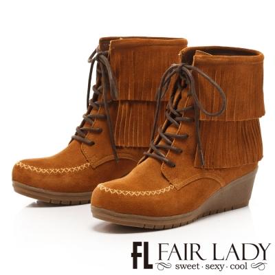 Fair Lady 波西米亞流蘇綁帶楔型靴 棕